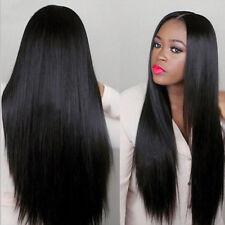 75cm Femme Long Droit Raide Naturel Perruque Cheveux Fête Boite De Nuit Coiffure