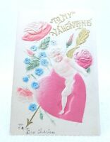 Antique 1909 Embossed Cupid Heart & Roses Flower Valentine's Day Signed Postcard