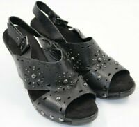 White Mountain Womens Ladies Open Toe Black Leather Heels Shoes Size 8M