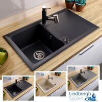 """LINDBERGH® Granit Spüle """"FAV"""" + Siphon Einbauspüle Küchenspüle Spülbecken"""