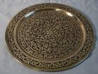 Persian niello enamel brass tray c1920 tight foliate design beautifully engraved