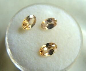 2.27 CTW Champagne Zircon Trio - Faceted Ovals 6 x 4 mm Natural - Old Stock