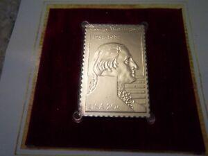 George Washington 250th Anniversary 22K Gold Replica of 20 Cent Stamp, 1982