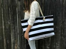 Extra Large Canvas Tote Bag-Beach Bag-Travel Picnic Gym Black and White Stripes