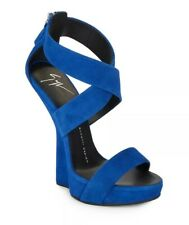 $841 Celebrity heelless Giuseppe Zanotti wrap around blue wedges 37 UK 4 new