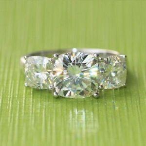 4.05 Ct Cushion Cut Three Stone Moissanite Engagement Wedding Ring 9K White Gold