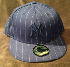 New York Yankees MLB NEW ERA 59FIFTY Fitted Hat Blue w/ White Stripes Mens 7 3/4