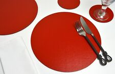 Set 6 ARTISAN RED Bonded Leather ROUND PLACEMATS & 6 COASTERS Made In UK, 12-PCS