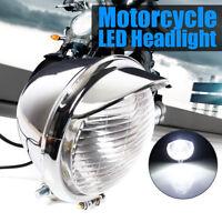 Universal Chrome Motorcycle LED Headlight 12V For Harley Chopper Bobber