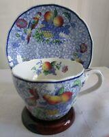 Vintage COPELAND SPODE'S George III Cup & Saucer Blue Floral Fruit Bird England