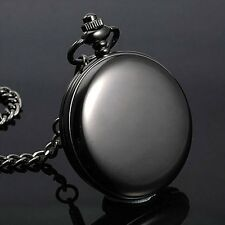Classic Smooth Black Quartz Pocket Watch Pendant Analog Mens Women Fob Watches
