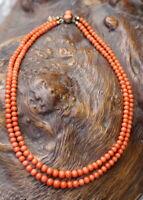 antike Korallen Kette 44 cm lang doppelreihige Halskette  28 g