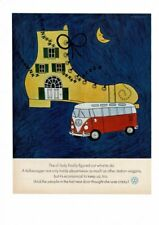 VINTAGE 1965 VW VOLKSWAGEN STATION WAGON BUS OLD LADY SHOE AD PRINT #155