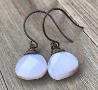 Min Favorit White Agate Briolette & Vintaj Brass Wire Wrap Artisan Earrings