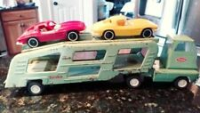VTG 1967 TONKA Light Green CAR HAULER CARRIER Transport TRUCK #96 w 2 Corvettes!