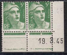 FRANCE COIN DATE BLOC DE 2 TIMBRE NEUF N° 719 MARIANNE DE GANDON VARIETE MECHE