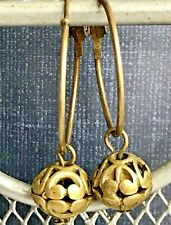 Etched Bronze Ball Hoop Dangle Earrings.