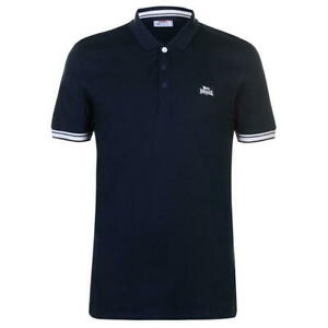 MENS LONSDALE NAVY/WHITE JERSEY POLO SHIRT - RRP £22.99 - SALE 15% OFF