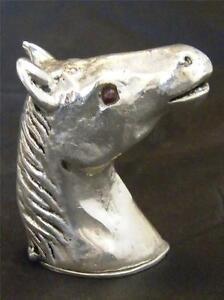SILVER PLATE & GARNET HORSE HEAD VESTA CASE
