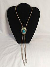 Turquoise Bolo Tie Vintage Alpaca Mexico Silver