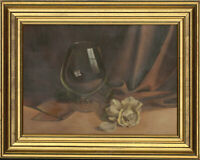 Rosalind De Vere - Framed 20th Century Oil, Still Life with Glass and Rose