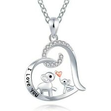 I Love You Heart Mom and Baby Elephant Necklace Gift for Mother