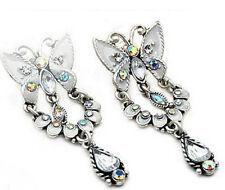 """Enamel Butterfly Dangle Silver Earrings New Icon 1.75"""" Clear A/B Crystal White"""