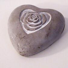#10509 Deko Herz Beton Rose Beton Weiß Gewischt Gartendeko Grabschmuck Shabby