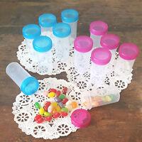 20 Plastic Pill Party Bottles JARS  PINK  Aqua BLUE Caps RX  1.5oz DecoJars 3814