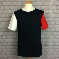 TOMMY HILFIGER MENS UK S NAVY COLOUR BLOCK T-SHIRT TSHIRT TEE DESIGNER SPORTS