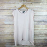 CHICO'S TRAVELERS Women's Sleeveless Tunic Length Blouse Top Sz 1 Pink Striped