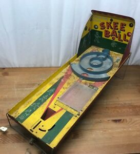 1950's Marx Vintage Tin Litho Automatic Score SKEE BALL Game Toy Nice Rare
