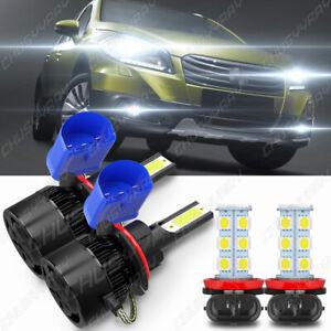 4x For 2007-2013 Suzuki SX4 Combo 9007 & H11 LED Headlight Fog Light Bulb 6000K
