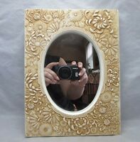 Carved chalkware wall mirror. Wild flowers