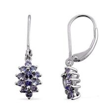 TANZANITE CLUSTER DROP/DANGLE STYLE EARRING STERLING SILVER