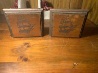 Old IRONSIDES US FRIGATE CONSTITUTION Vintage Cooper Decorative Bookends Gift NR