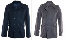 Mens Jacket Double Breasted Wool Blend Peacoat