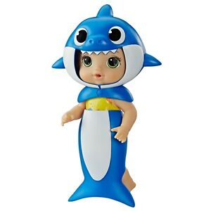 Baby Alive, Baby Shark Brown Hair Doll, with Tail and Hood, Waterplay Toy Blue