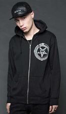 Lip Service Black Satanic Cybergoth Punk EDM Industrial Comfy Pentagram Hoodie