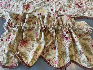 2 Waverly Imperial Dress Antique Jacobean Scalloped Window Valance Satin Trim