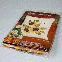 Crewel Pillow Kit Sunflower Pillow Carolyn Barrani Mid Century MCM Gold
