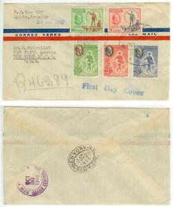 1948 Ecuador Registered First Day Cover -President Franklin Roosevelt air issues