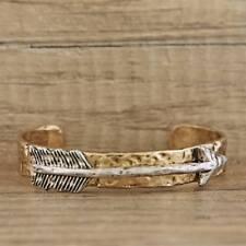 Gold Open Cuff Bracelet Silver Arrow Boho Cowgirl Western Mixed Metal Squeeze