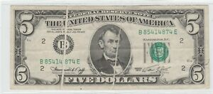 Double Gutter Fold 1974 $5 New York NY Federal Reserve Note Five Dollar Error