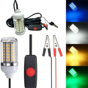 12V LED Underwater Fish Night Fishing Light Lamp Lure Bait 4Colors Z^