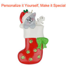 MAXORA Personalized Ornament Kitty Stocking Presents for Christmas