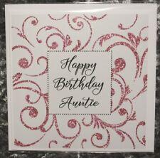 Happy Birthday Card, Happy Birthday Auntie Card, Blank Card, White, Blank inside