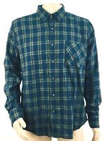 Arizona Jean Co Mens Plaid Flannel Shirt Size Large Button Up Navy Green NEW