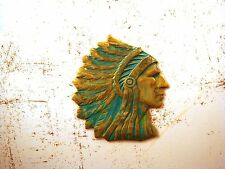 Genuine Art Nouveau/Jugendstil ornament - Verdigris oxydated brass Indian Chief