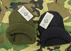 NEW Genuine Government Issue 100% Wool Jeep Cap w/ Brim Made in USA Green/Black